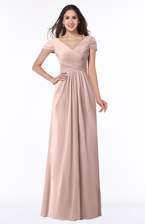 ColsBM Evie Dusty Rose Glamorous A-line Short Sleeve Floor Length Ruching Plus Size Bridesmaid Dresses