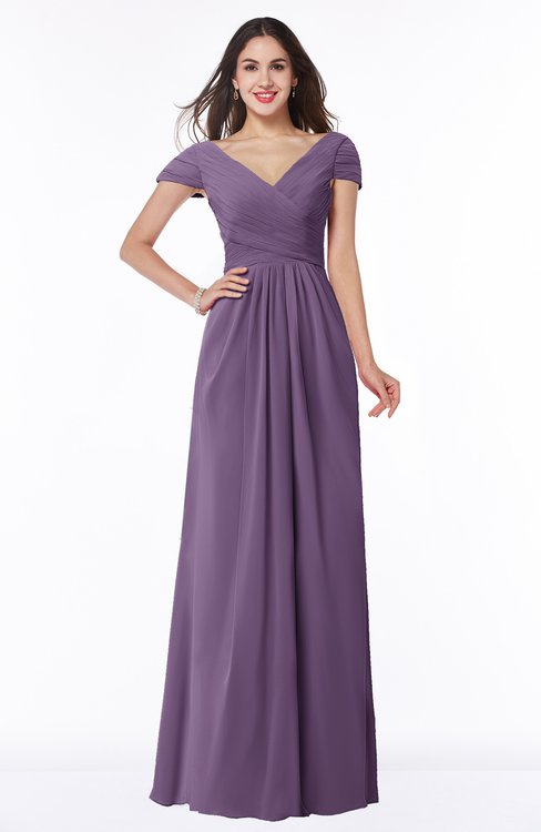 ColsBM Evie Eggplant Glamorous A-line Short Sleeve Floor Length Ruching Plus Size Bridesmaid Dresses