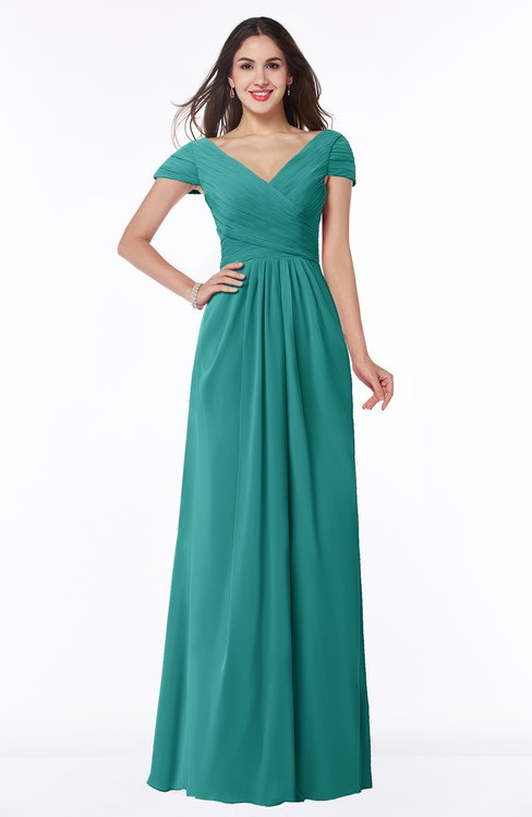 ColsBM Evie Emerald Green Glamorous A-line Short Sleeve Floor Length Ruching Plus Size Bridesmaid Dresses