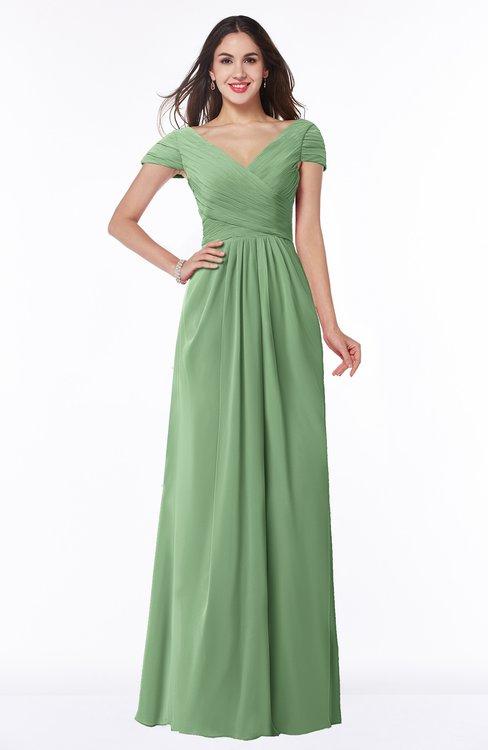 ColsBM Evie Fair Green Glamorous A-line Short Sleeve Floor Length Ruching Plus Size Bridesmaid Dresses