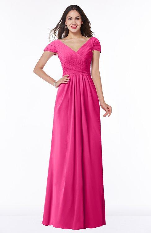 ColsBM Evie Fandango Pink Glamorous A-line Short Sleeve Floor Length Ruching Plus Size Bridesmaid Dresses