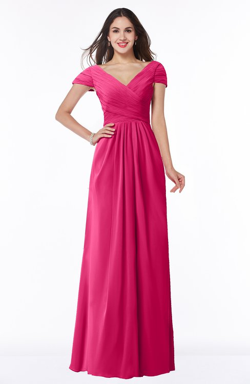 ColsBM Evie Fuschia Glamorous A-line Short Sleeve Floor Length Ruching Plus Size Bridesmaid Dresses