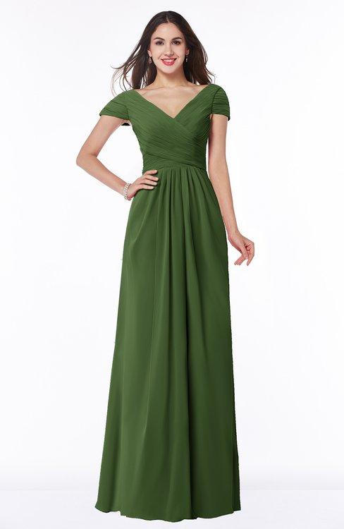 ColsBM Evie Garden Green Glamorous A-line Short Sleeve Floor Length Ruching Plus Size Bridesmaid Dresses