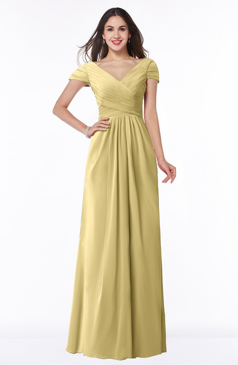 ColsBM Evie Gold Glamorous A-line Short Sleeve Floor Length Ruching Plus Size Bridesmaid Dresses