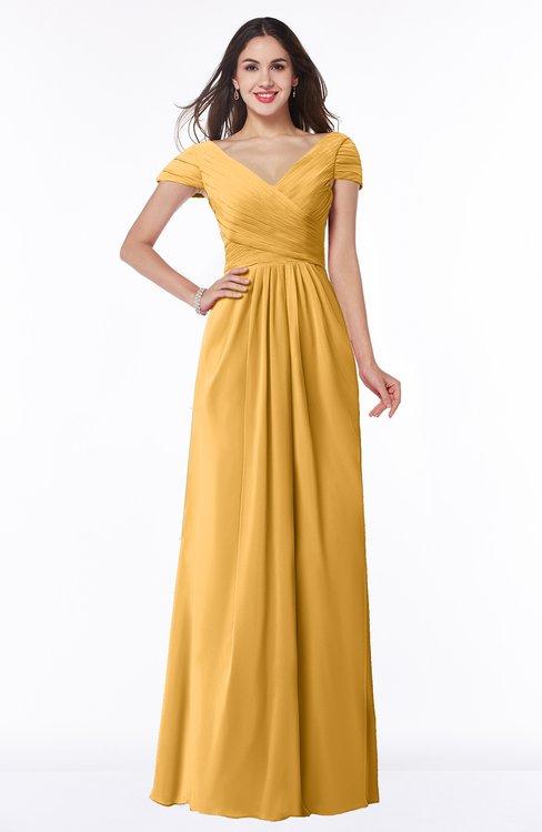 ColsBM Evie Golden Cream Glamorous A-line Short Sleeve Floor Length Ruching Plus Size Bridesmaid Dresses