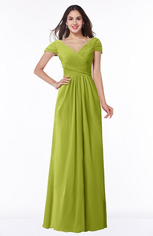ColsBM Evie Green Oasis Glamorous A-line Short Sleeve Floor Length Ruching Plus Size Bridesmaid Dresses