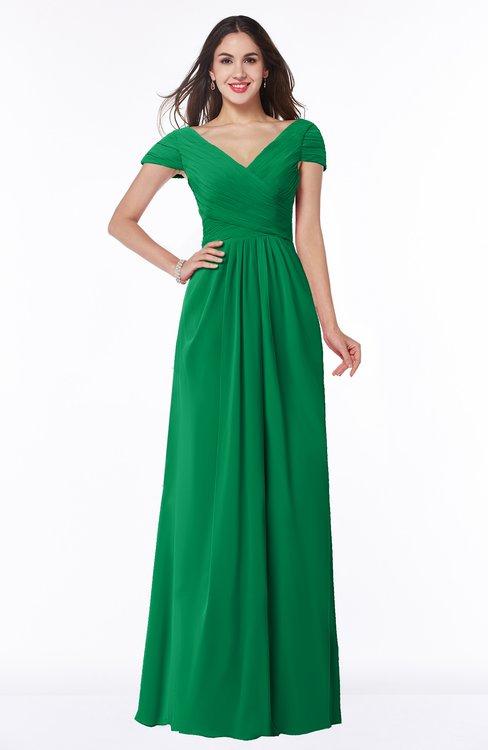 ColsBM Evie Green Glamorous A-line Short Sleeve Floor Length Ruching Plus Size Bridesmaid Dresses