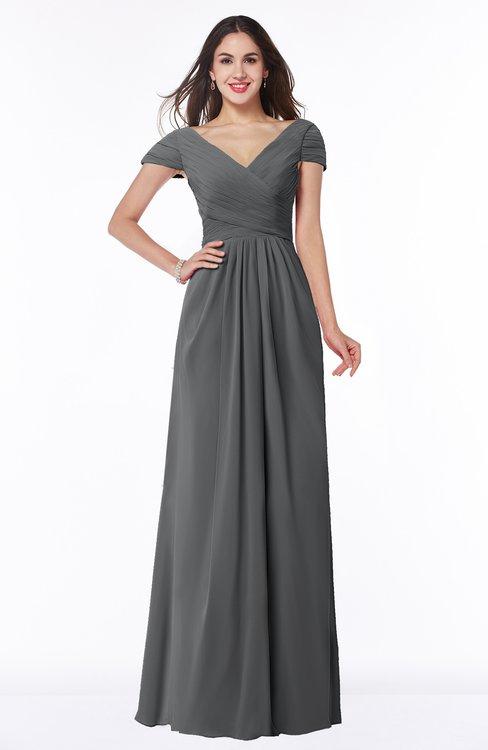 ColsBM Evie Grey Glamorous A-line Short Sleeve Floor Length Ruching Plus Size Bridesmaid Dresses