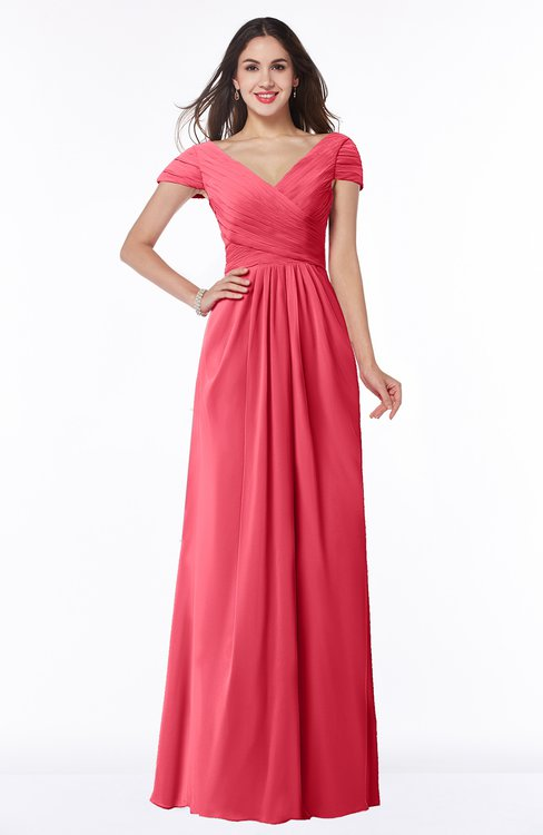 ColsBM Evie Guava Glamorous A-line Short Sleeve Floor Length Ruching Plus Size Bridesmaid Dresses