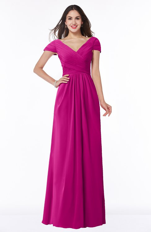 ColsBM Evie Hot Pink Glamorous A-line Short Sleeve Floor Length Ruching Plus Size Bridesmaid Dresses