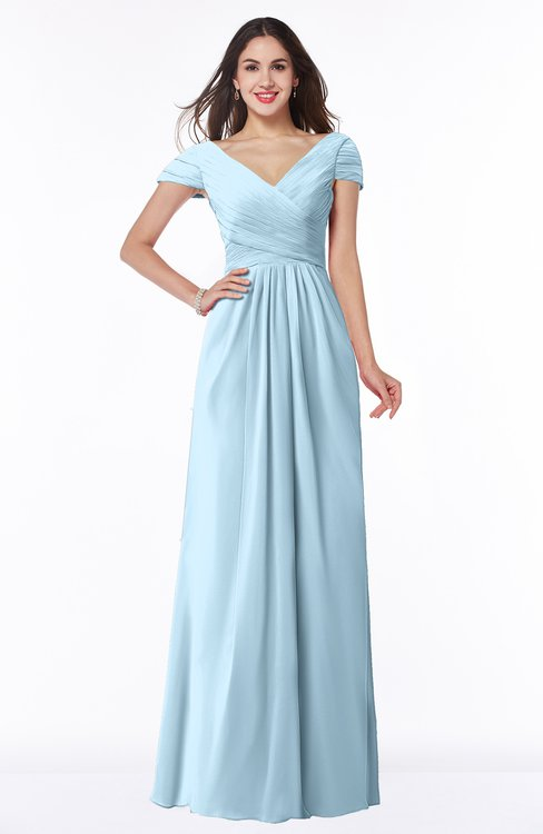 ColsBM Evie Ice Blue Glamorous A-line Short Sleeve Floor Length Ruching Plus Size Bridesmaid Dresses
