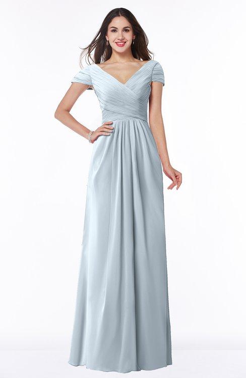 ColsBM Evie Illusion Blue Glamorous A-line Short Sleeve Floor Length Ruching Plus Size Bridesmaid Dresses