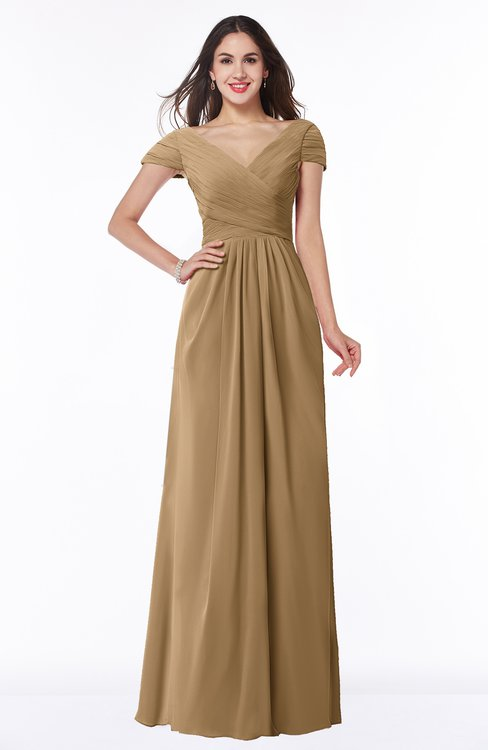 ColsBM Evie Indian Tan Glamorous A-line Short Sleeve Floor Length Ruching Plus Size Bridesmaid Dresses
