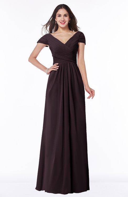 ColsBM Evie Italian Plum Glamorous A-line Short Sleeve Floor Length Ruching Plus Size Bridesmaid Dresses