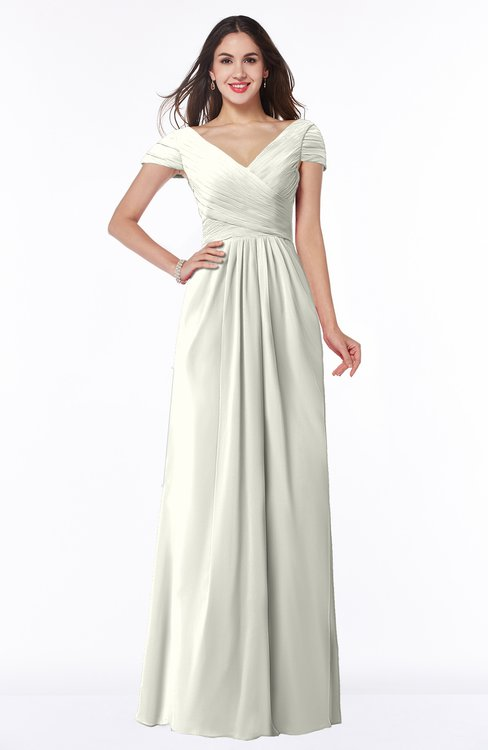 ColsBM Evie Ivory Glamorous A-line Short Sleeve Floor Length Ruching Plus Size Bridesmaid Dresses