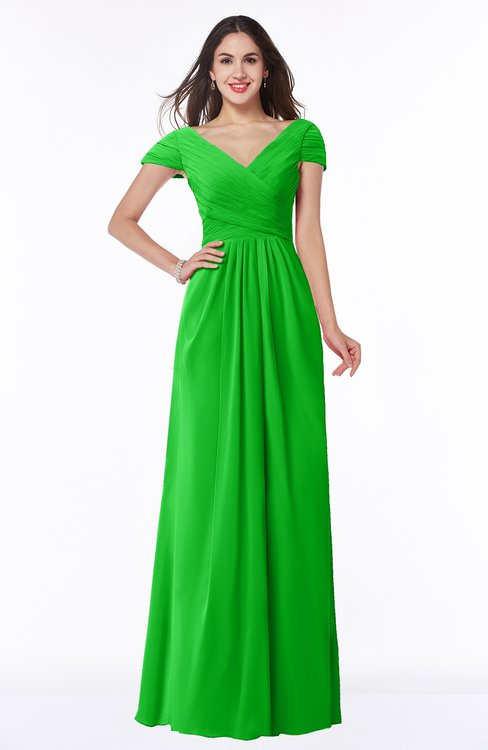 ColsBM Evie Jasmine Green Glamorous A-line Short Sleeve Floor Length Ruching Plus Size Bridesmaid Dresses