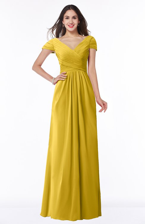 ColsBM Evie Lemon Curry Glamorous A-line Short Sleeve Floor Length Ruching Plus Size Bridesmaid Dresses