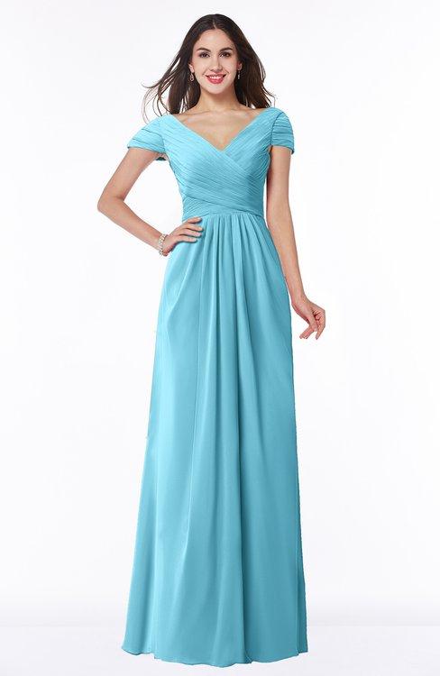 ColsBM Evie Light Blue Glamorous A-line Short Sleeve Floor Length Ruching Plus Size Bridesmaid Dresses