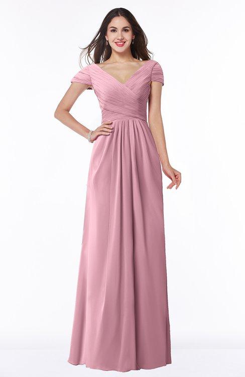 ColsBM Evie Light Coral Glamorous A-line Short Sleeve Floor Length Ruching Plus Size Bridesmaid Dresses