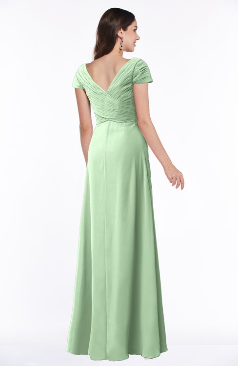 a6542765768 ... ColsBM Evie Light Green Glamorous A-line Short Sleeve Floor Length  Ruching Plus Size Bridesmaid