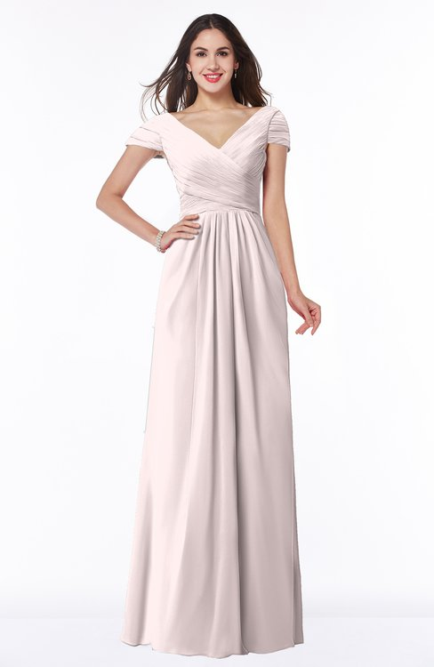 ColsBM Evie Light Pink Glamorous A-line Short Sleeve Floor Length Ruching Plus Size Bridesmaid Dresses