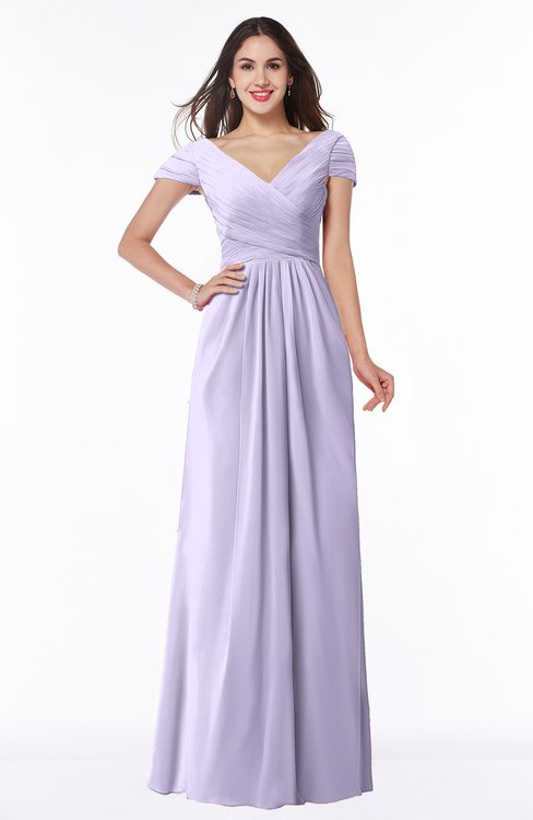 ColsBM Evie Light Purple Glamorous A-line Short Sleeve Floor Length Ruching Plus Size Bridesmaid Dresses