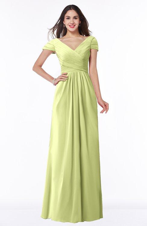 ColsBM Evie Lime Green Glamorous A-line Short Sleeve Floor Length Ruching Plus Size Bridesmaid Dresses