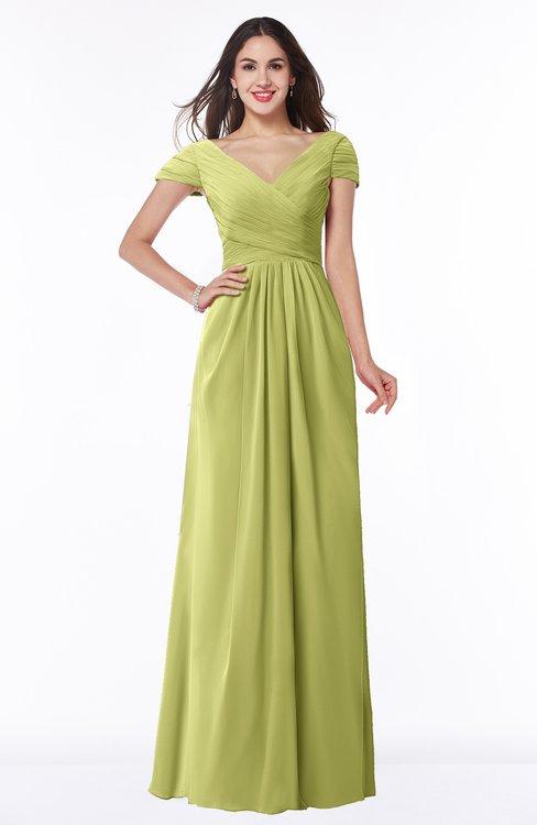 ColsBM Evie Linden Green Glamorous A-line Short Sleeve Floor Length Ruching Plus Size Bridesmaid Dresses