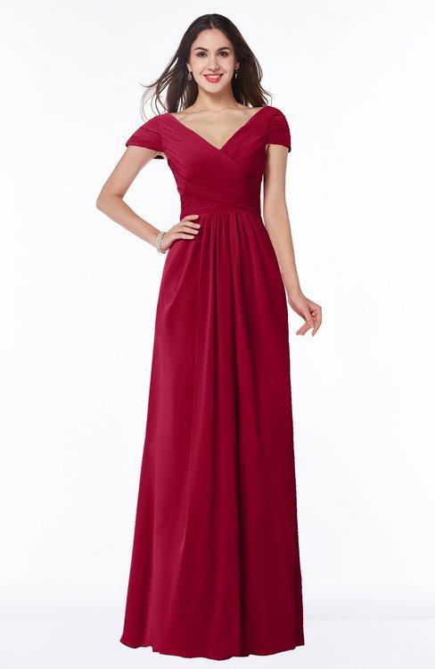 ColsBM Evie Maroon Glamorous A-line Short Sleeve Floor Length Ruching Plus Size Bridesmaid Dresses