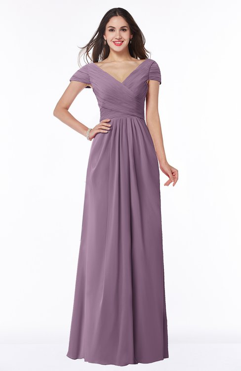 ColsBM Evie Mauve Glamorous A-line Short Sleeve Floor Length Ruching Plus Size Bridesmaid Dresses