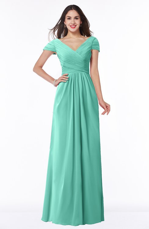 ColsBM Evie Mint Green Glamorous A-line Short Sleeve Floor Length Ruching Plus Size Bridesmaid Dresses