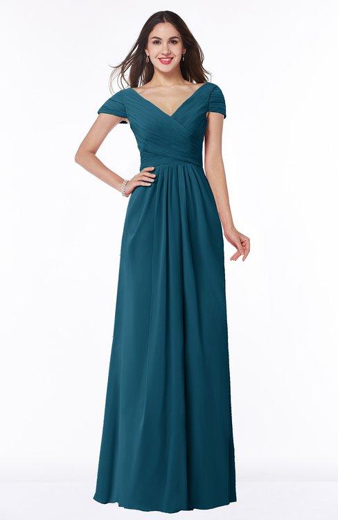 ColsBM Evie Moroccan Blue Glamorous A-line Short Sleeve Floor Length Ruching Plus Size Bridesmaid Dresses