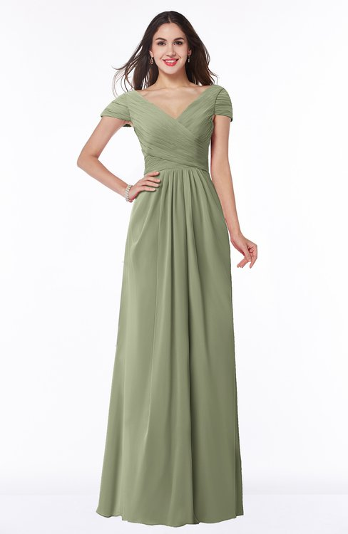 ColsBM Evie Moss Green Glamorous A-line Short Sleeve Floor Length Ruching Plus Size Bridesmaid Dresses