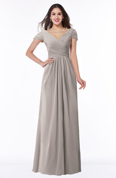 ColsBM Evie Mushroom Glamorous A-line Short Sleeve Floor Length Ruching Plus Size Bridesmaid Dresses
