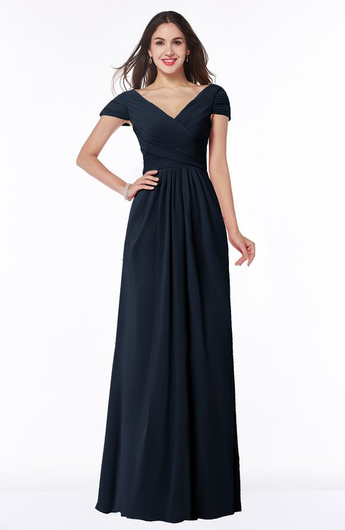ColsBM Evie Navy Blue Glamorous A-line Short Sleeve Floor Length Ruching Plus Size Bridesmaid Dresses