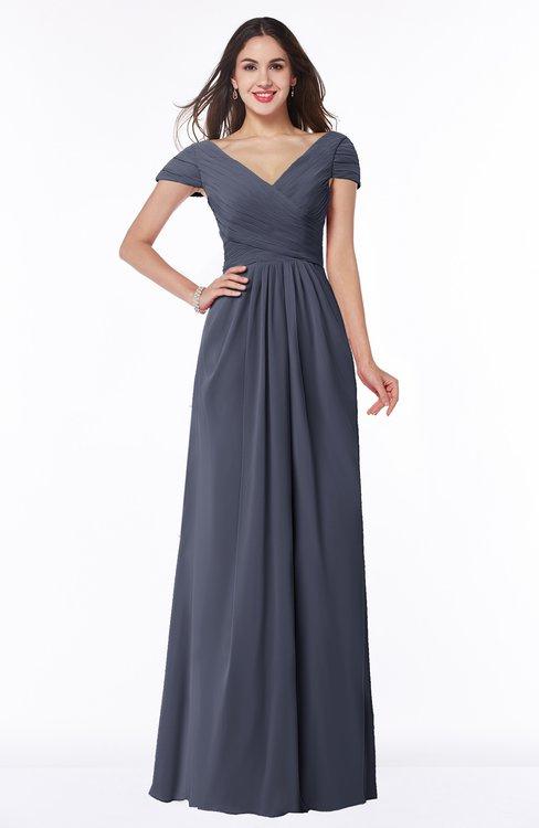 ColsBM Evie Nightshadow Blue Glamorous A-line Short Sleeve Floor Length Ruching Plus Size Bridesmaid Dresses