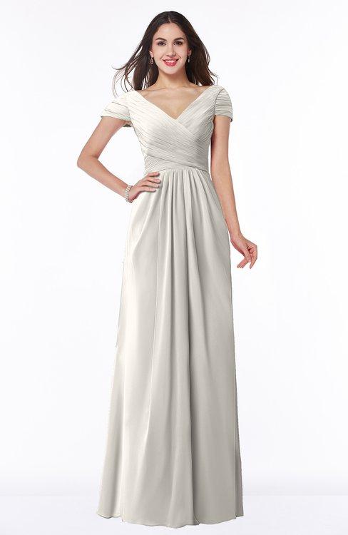 ColsBM Evie Off White Glamorous A-line Short Sleeve Floor Length Ruching Plus Size Bridesmaid Dresses
