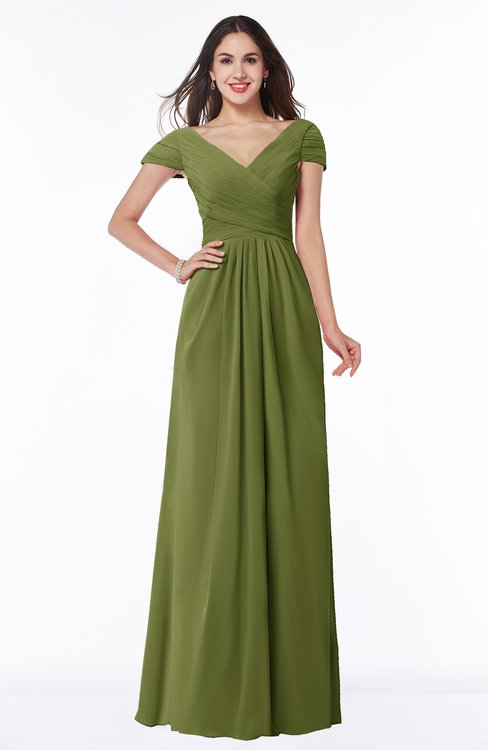 ColsBM Evie Olive Green Glamorous A-line Short Sleeve Floor Length Ruching Plus Size Bridesmaid Dresses