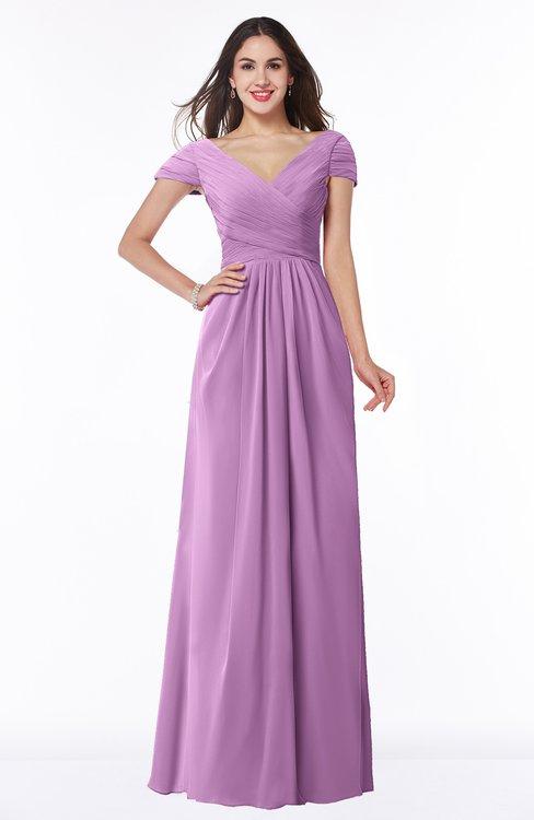 ColsBM Evie Orchid Glamorous A-line Short Sleeve Floor Length Ruching Plus Size Bridesmaid Dresses