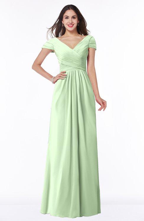 ColsBM Evie Pale Green Glamorous A-line Short Sleeve Floor Length Ruching Plus Size Bridesmaid Dresses