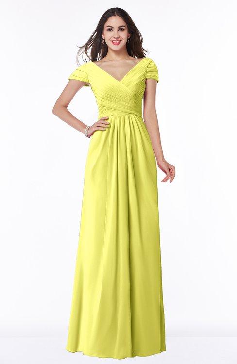 ColsBM Evie Pale Yellow Glamorous A-line Short Sleeve Floor Length Ruching Plus Size Bridesmaid Dresses