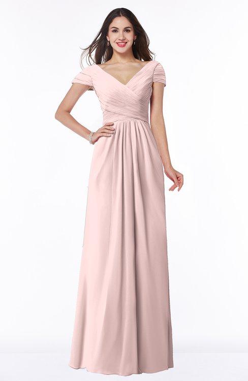 ColsBM Evie Pastel Pink Glamorous A-line Short Sleeve Floor Length Ruching Plus Size Bridesmaid Dresses