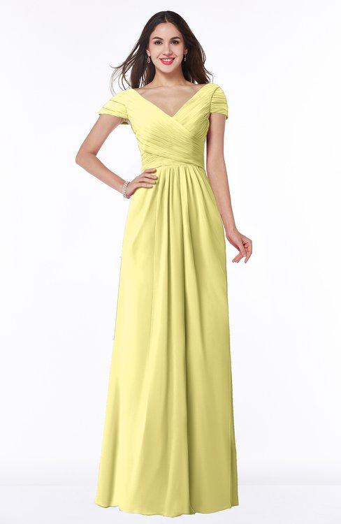 ColsBM Evie Pastel Yellow Glamorous A-line Short Sleeve Floor Length Ruching Plus Size Bridesmaid Dresses