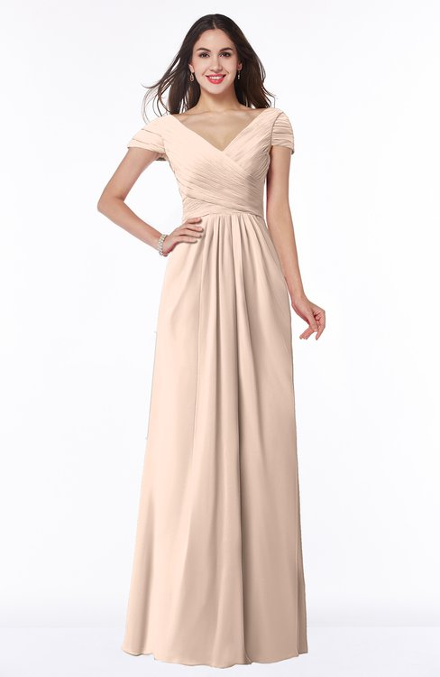 ColsBM Evie Peach Puree Glamorous A-line Short Sleeve Floor Length Ruching Plus Size Bridesmaid Dresses