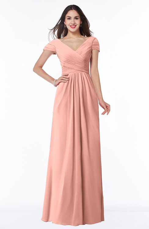ColsBM Evie Peach Glamorous A-line Short Sleeve Floor Length Ruching Plus Size Bridesmaid Dresses