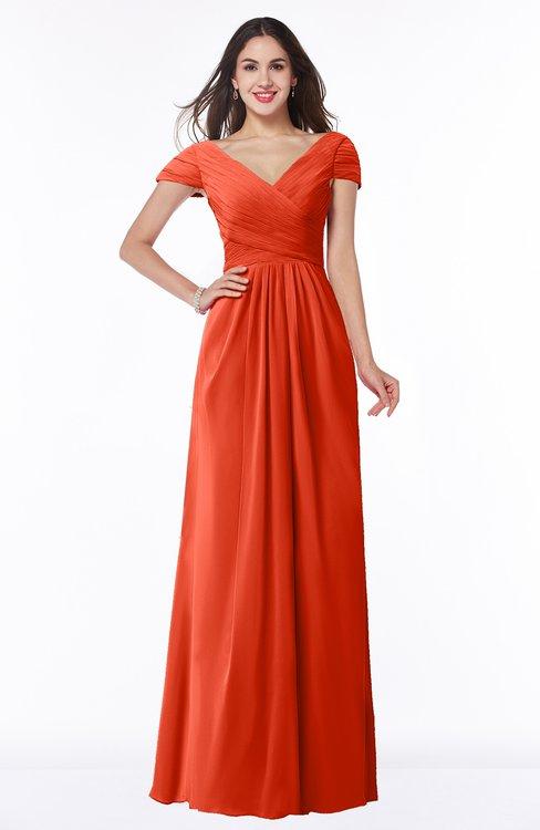 ColsBM Evie Persimmon Glamorous A-line Short Sleeve Floor Length Ruching Plus Size Bridesmaid Dresses