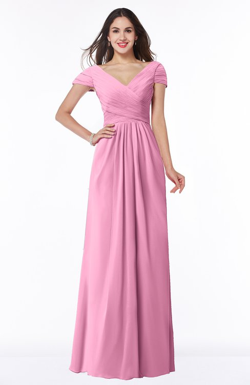 ColsBM Evie Pink Glamorous A-line Short Sleeve Floor Length Ruching Plus Size Bridesmaid Dresses