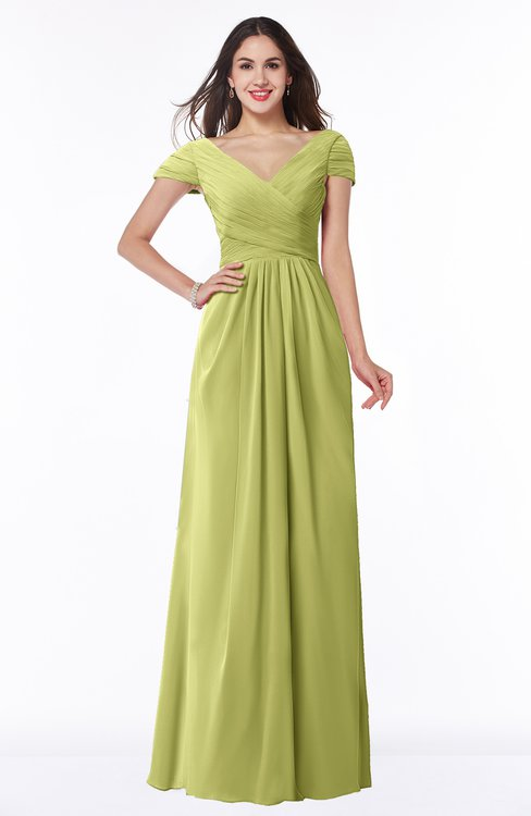 ColsBM Evie Pistachio Glamorous A-line Short Sleeve Floor Length Ruching Plus Size Bridesmaid Dresses