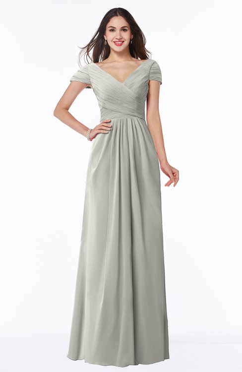 ColsBM Evie Platinum Glamorous A-line Short Sleeve Floor Length Ruching Plus Size Bridesmaid Dresses
