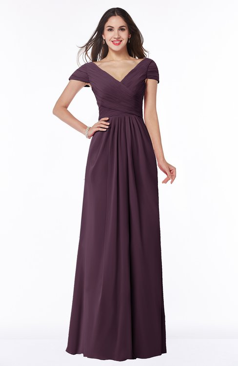 ColsBM Evie Plum Glamorous A-line Short Sleeve Floor Length Ruching Plus Size Bridesmaid Dresses